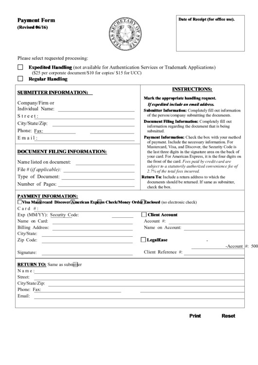 Fillable Payment Form Fillable Texas Secretary Of
