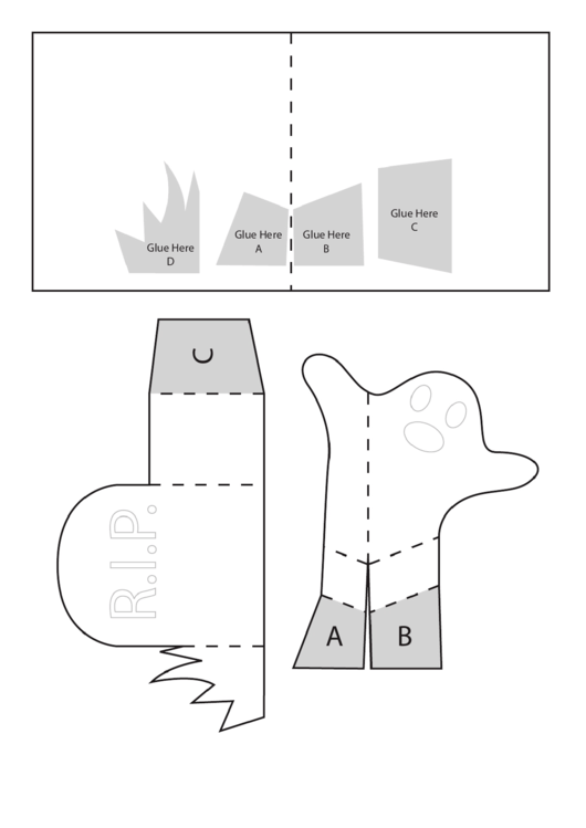 Foldable Halloween Ghost And Tombstone Templates