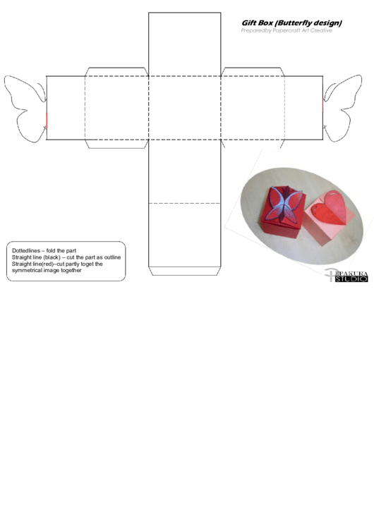 Gift Box (Butterfly Design) Printable pdf