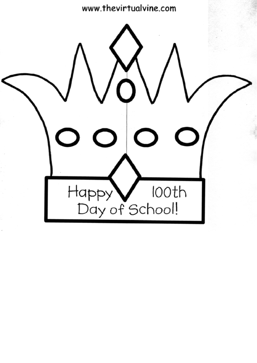 Happy 100th Day Of School Crown Template printable pdf download