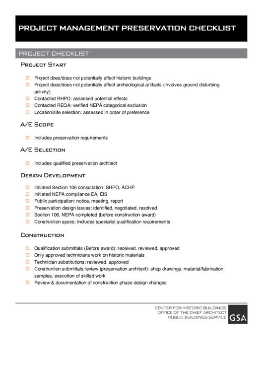 Project Management Preservation Checklist printable pdf download