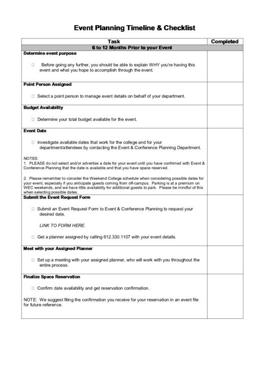 Event Planning Timeline Printable pdf