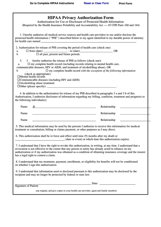 Fillable Hipaa Privacy Authorization Form Printable Pdf