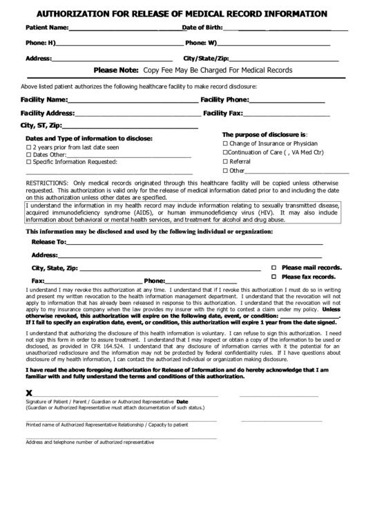 Va Medical Release Form Pdf