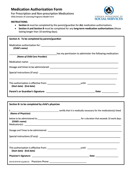 Fillable Sample Medication Authorization Form Printable pdf