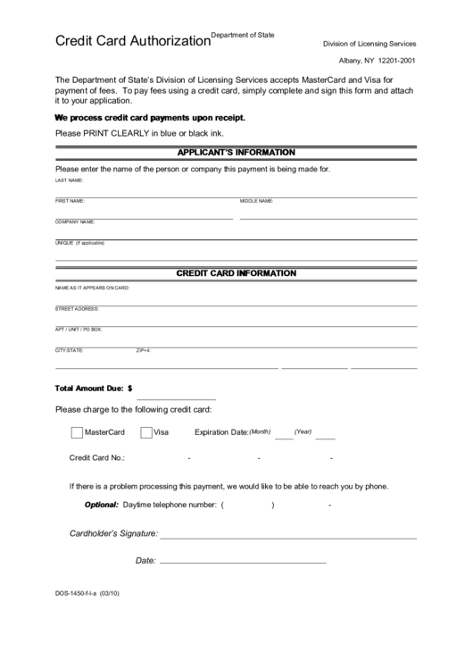 credit card authorization form division of licensing services