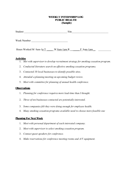 Weekly Internship Log Template - Public Health printable pdf download