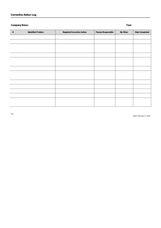 Corrective Action Log Template Printable pdf