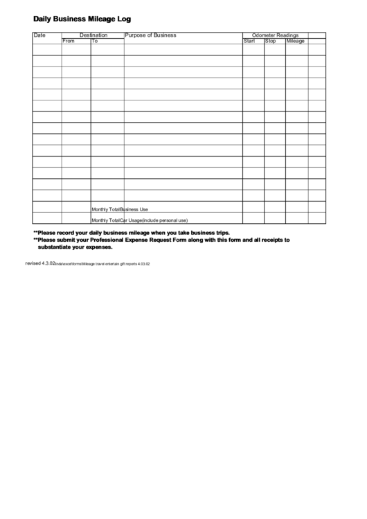 Daily Business Mileage Log Sheet