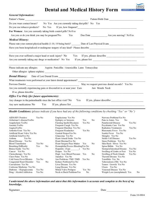 Form 10 - 0804: Dental And Medical History Form