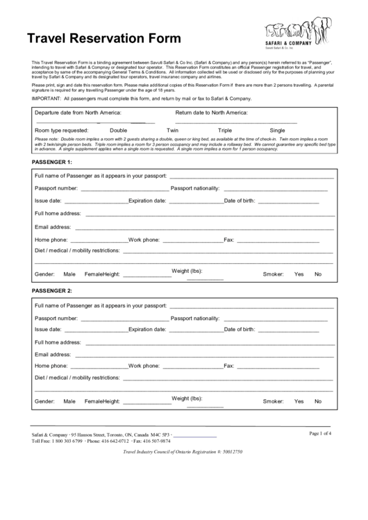 Travel Reservation Form Printable pdf