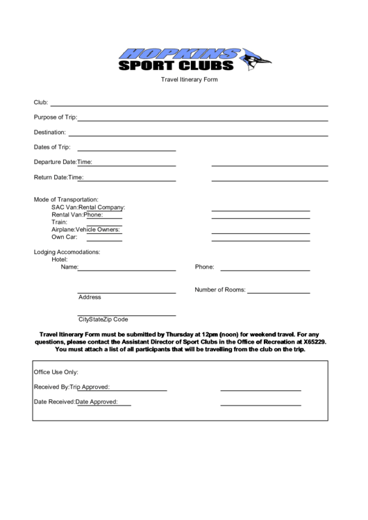 Travel Itinerary Form Printable pdf