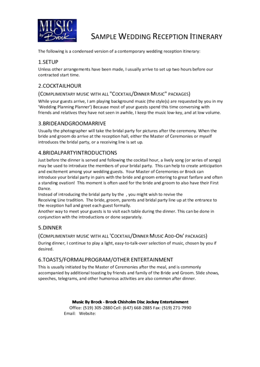 Sample Wedding Reception Itinerary Printable Pdf Download