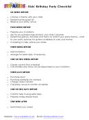 Kids' Birthday Party Checklist Template
