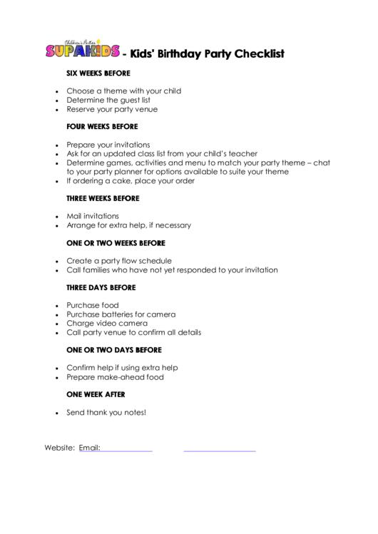 kids birthday party checklist template printable pdf download