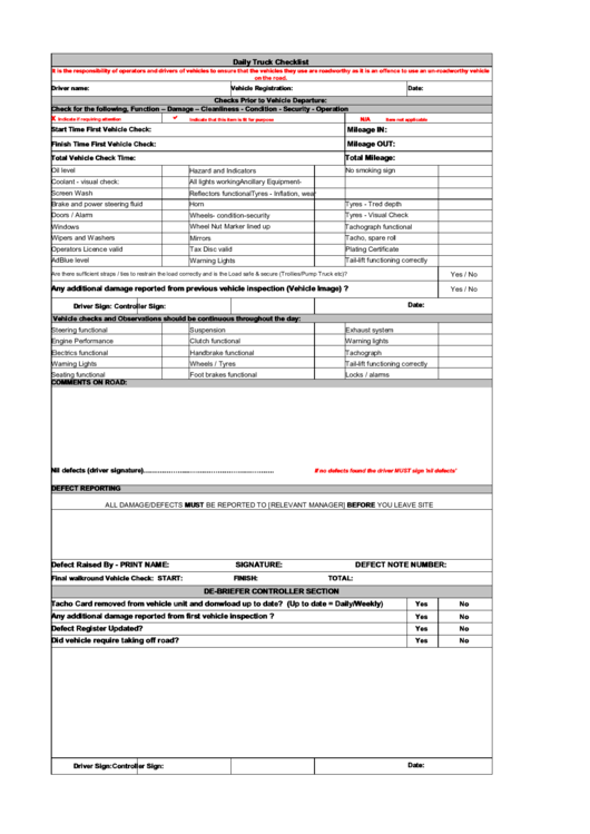 Daily Truck Checklist Printable Pdf Download