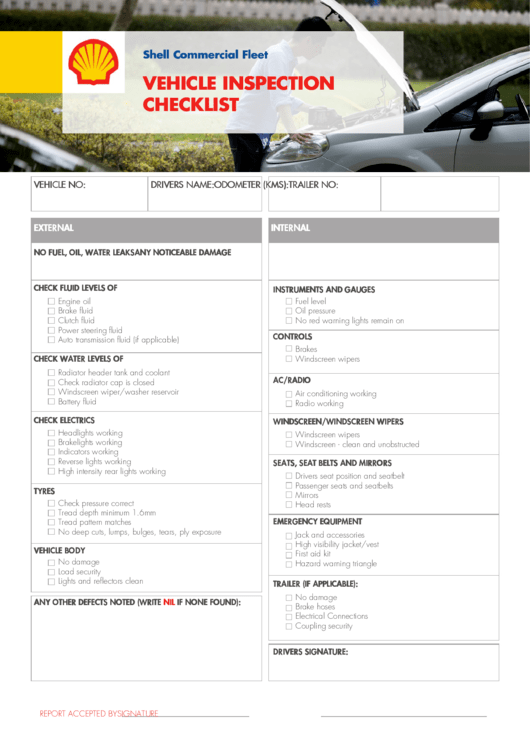 shell commercial fleet vehicle inspection checklist