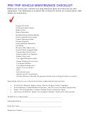 Pre-trip Vehicle Maintenance Checklist