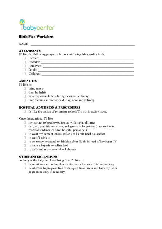 birth plan worksheet printable pdf download. Black Bedroom Furniture Sets. Home Design Ideas