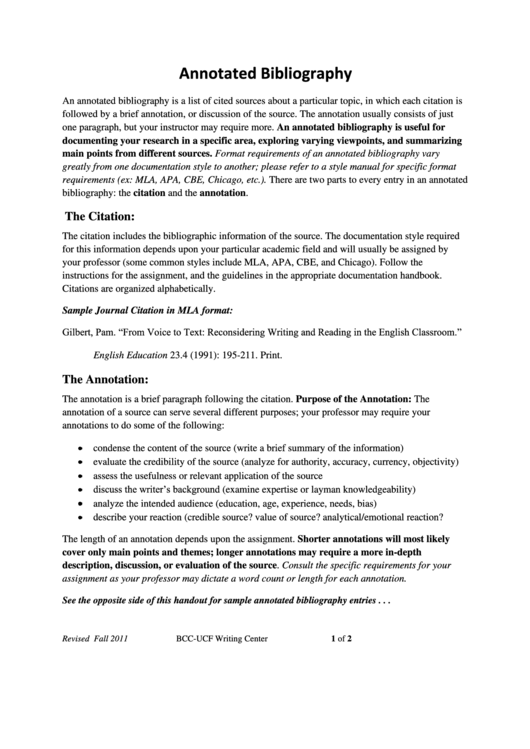 Annotated Bibliography (mla) Template