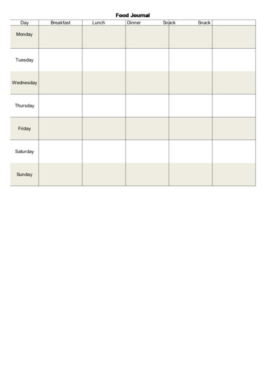 Food Journal Template Printable pdf