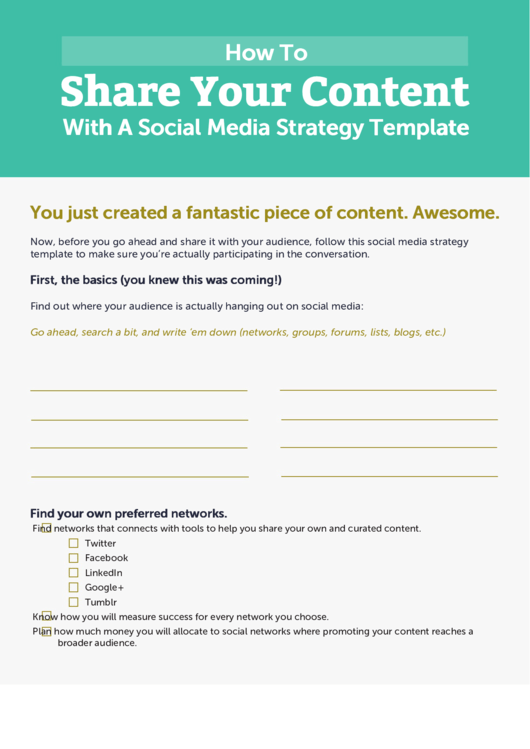 Share Your Content With A Social Media Strategy Template