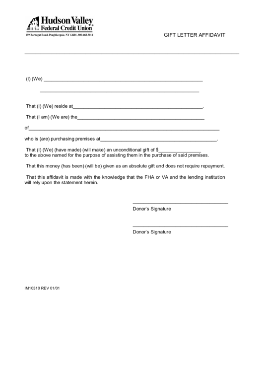 gift letter affidavit template