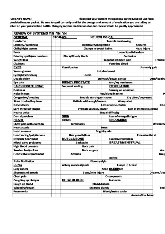 Fillable Medical List Form Printable Pdf Download