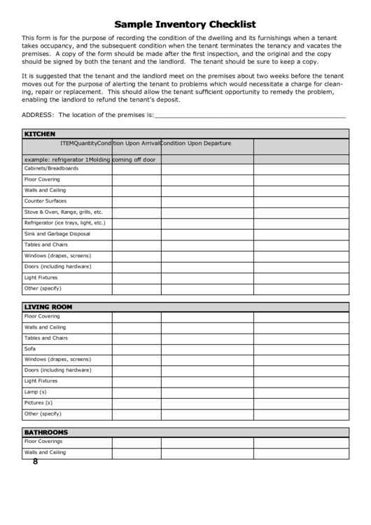 sample inventory checklist printable pdf download