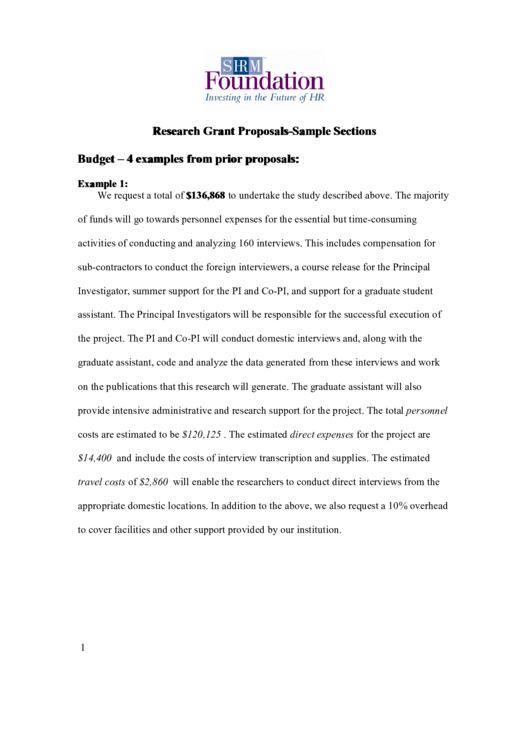Sample Grant Budget Proposal Printable pdf