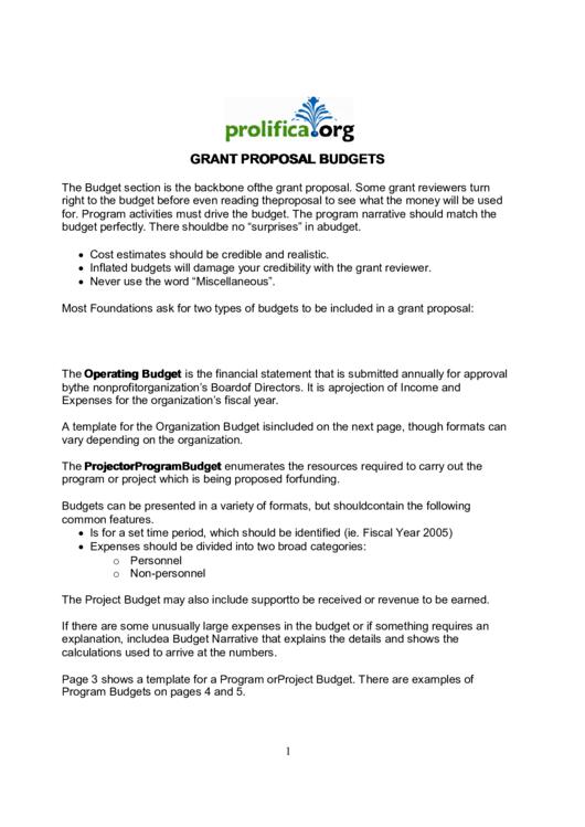 Grant Proposal Budgets Printable pdf