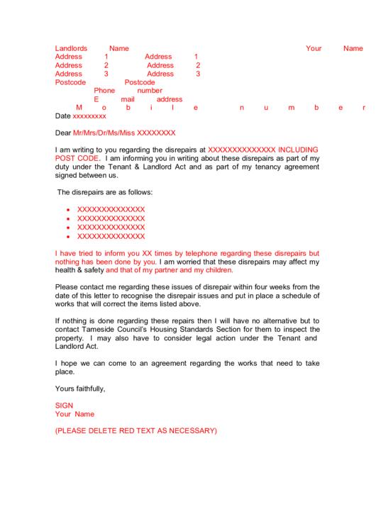 Complaint Letter Printable pdf