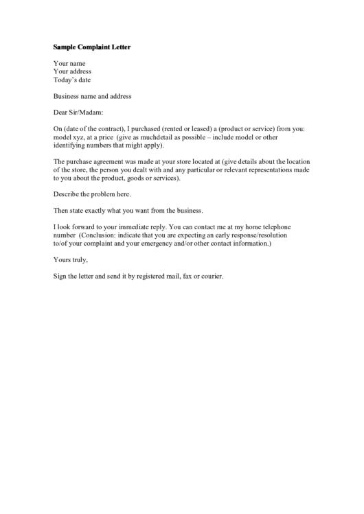 Complaint Letter Template Printable pdf