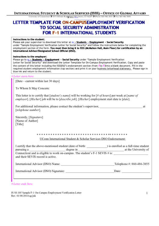 Letter Template For On-Campus Employment Verification To Social Security Administration For F-1 International Students Printable pdf