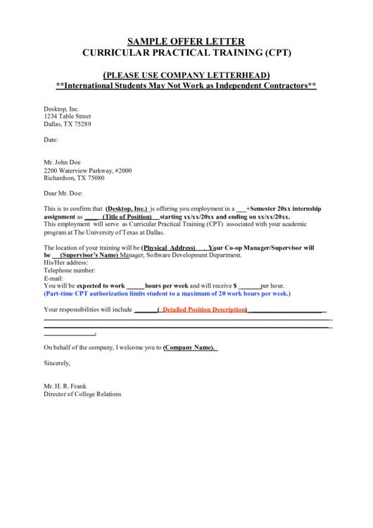 Sample Offer Letter printable pdf
