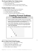 Formal Outline Note Taking Template