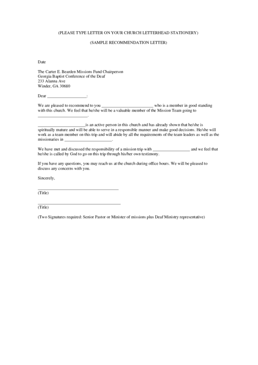 Sample Recommendation Letter Printable pdf