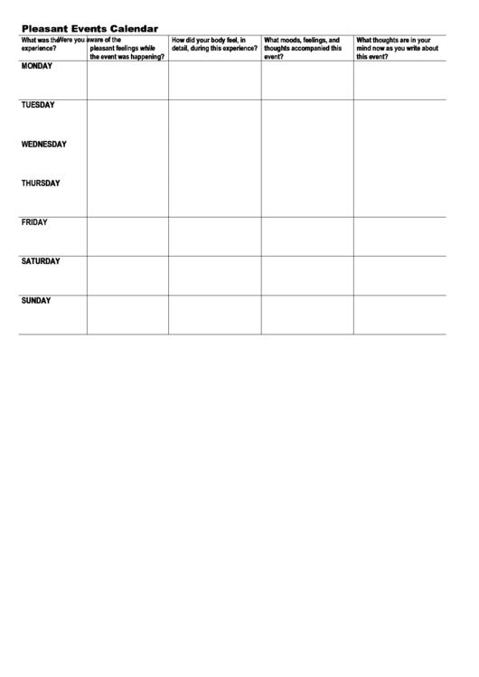 Pleasant/unpleasant Events Calendar Template