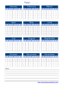 Yearly Calendar Template With Notes