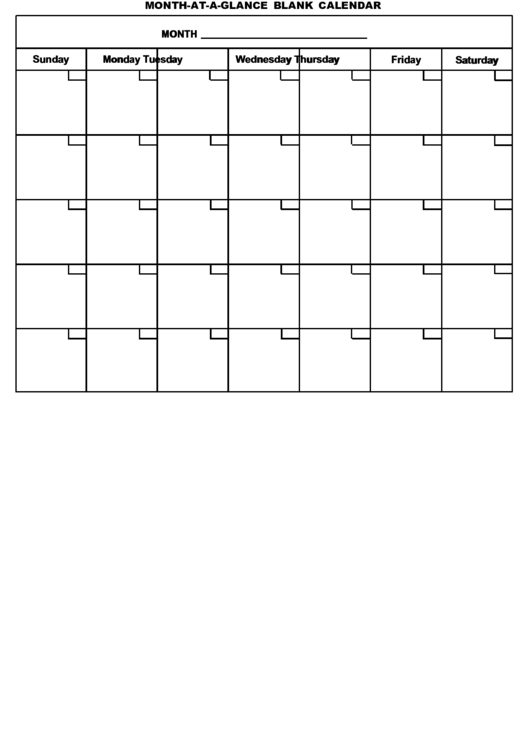 month at a glance blank calendar