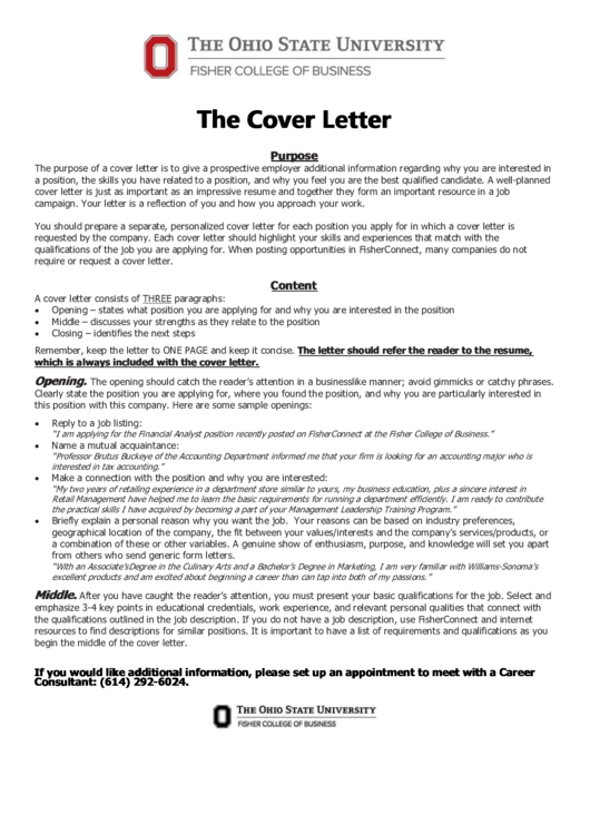 The Cover Letter Printable pdf
