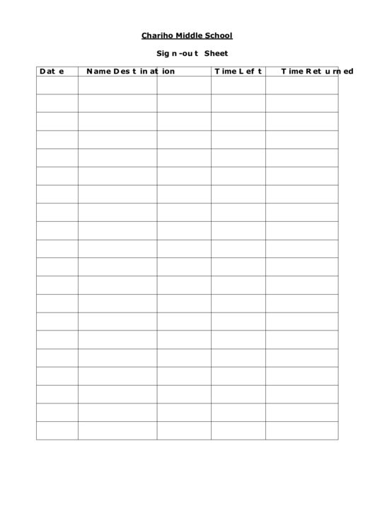Student Sign-out Sheet Template printable pdf download