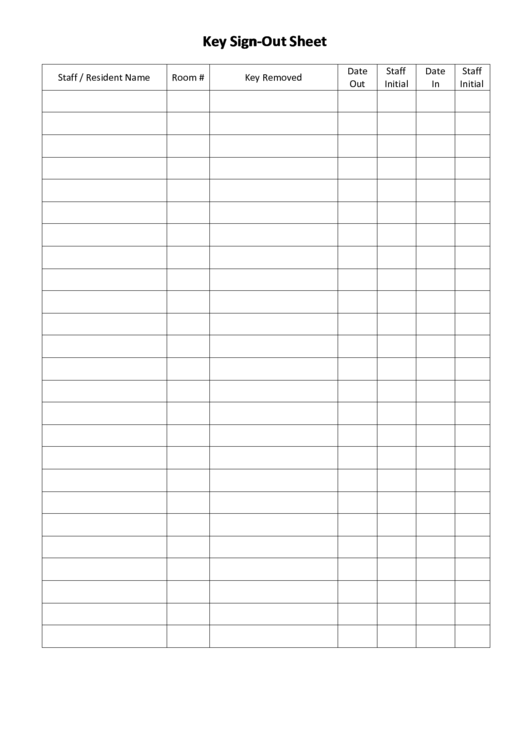 Key sign out sheet template printable pdf download for Resident sign out sheet template
