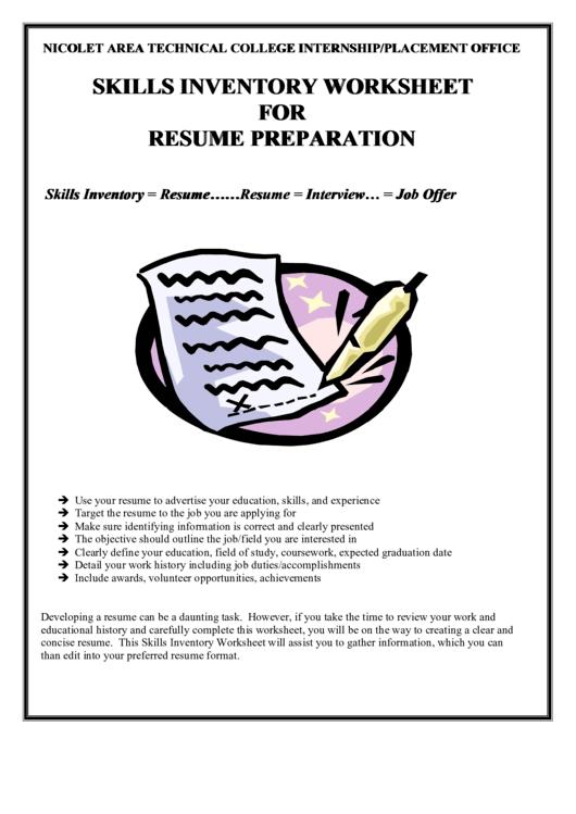 Skills Inventory Worksheet For Resume Preparation Printable pdf