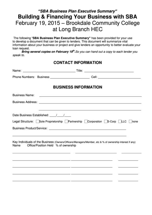 Sba Business Plan Executive Summary Template Printable pdf
