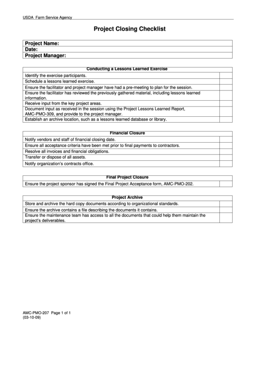 Project Closing Checklist