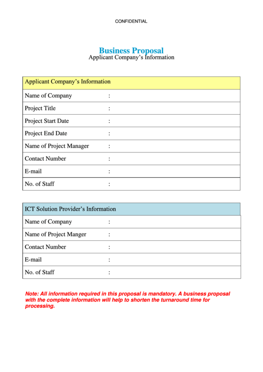 Confidential Business Proposal Template