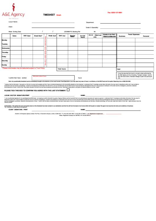 Timesheet Template Printable pdf