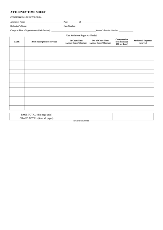 top attorney timesheet templates free to download in pdf format