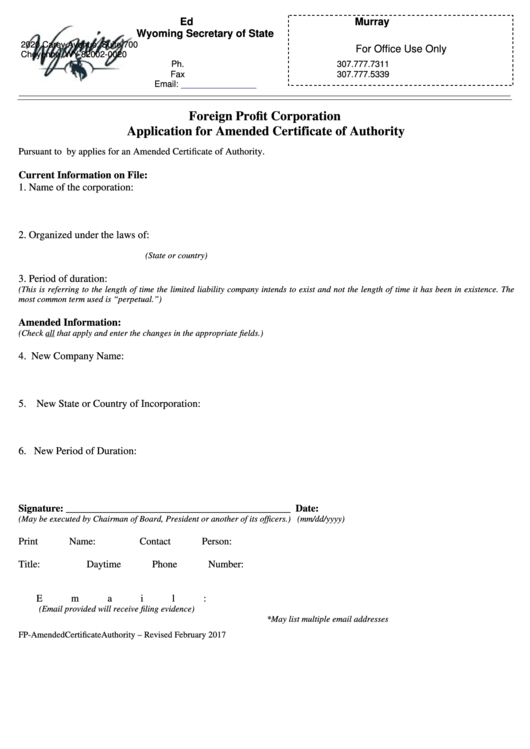 Foreign Profit Corporation Application For Amended Certificate Of Authority